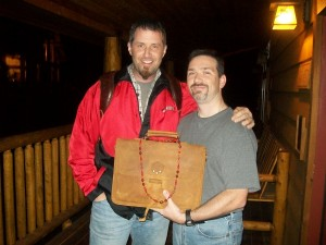 James Woosley with Dave Munson from Saddleback Leather