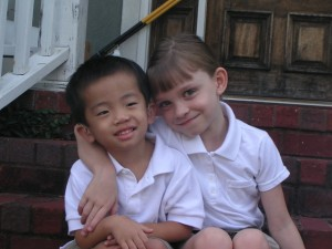 Ian and Anna on the first day of school